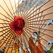 Traditional wax paper umbrella with original artwork for sale at Guangdexing Paper Umbrella Shop, Meinong Township, Kaohsiung County, Taiwan