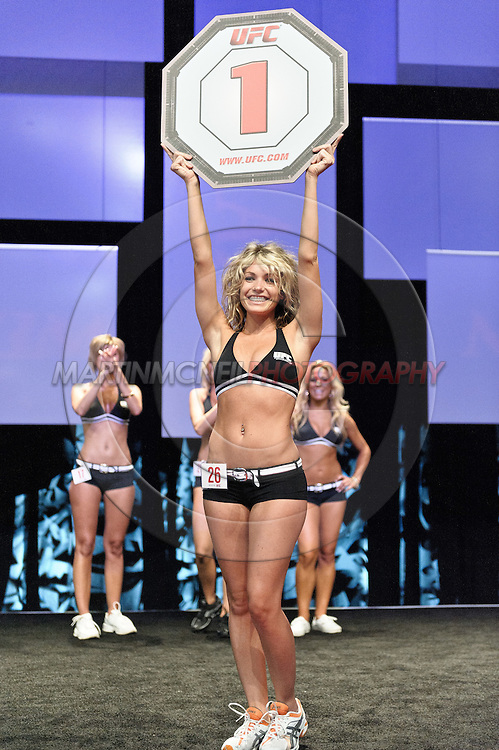 "LAS VEGAS, NEVADA, JULY 10, 2009: Model Natasha Wicks won the first ever ""Octagon Girl Search"" competition during the UFC Fan Expo inside the Mandalay Bay Convention Centre in Las Vegas, Nevada"