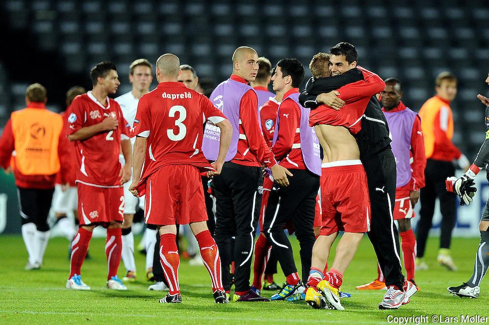 DK Caption:<br /> 20110618, &Aring;rhus, Danmark.<br /> Fodbold UEFA U21 Euroropamesterskab:<br /> Schweiz - Hviderusland:  Schweiz jubler efter kvalifikation til semifinalen<br /> Foto: Lars M&oslash;ller<br /> <br /> UK Caption:<br /> 20110618, Aarhus, Denmark.<br /> Football UEFA U21 European Championship:<br /> Schweiz - Belarus:  Schweiz jubler efter kvalifikation til semifinalen<br /> Photo: Lars Moeller