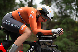Roxanne Knetemann (NED) of Team Netherlands tackles the first climb of Stage 4 of the Lotto Thuringen Ladies Tour - a 18.7 km individual time trial, starting and finishing in Schmolln on July 16, 2017, in Thuringen, Germany. (Photo by Balint Hamvas/Velofocus.com)
