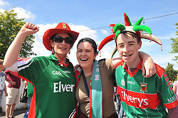 Mayo supporters Ruth McNeela, Laura Grady and Nathan McNeela from Newport on their way to the Connacht Championship semi-final  against Galway.<br /> Pic Conor McKeown