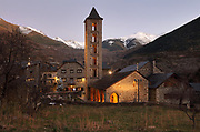 Church of Santa Eulalia d'Erill la Vall, an 11th century early Romanesque church, in the evening, in Erill la Vall, in the La Vall de Boi region, Lleida, Catalonia, Spain. The church forms part of the UNESCO World Heritage Site, Catalan Romanesque Churches of the Vall de Boi. Picture by Manuel Cohen