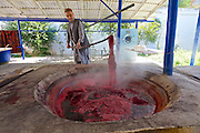 Uzbekistan, Samarqand.<br /> Silk carpet manufacture.<br /> Dyeing silk.