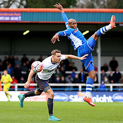Chris Hussey of Bury challenges Calvin Andrew of Rochdale  - Mandatory byline: Matt McNulty/JMP - 06/12/2015 - Football - Spotland Stadium - Rochdale, England - Rochdale v Bury - FA Cup