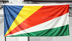 A general view of the flag of Seychelles at the Carrara Stadium during day seven of the 2018 Commonwealth Games in the Gold Coast, Australia. PRESS ASSOCIATION Photo. Picture date: Wednesday April 11, 2018. See PA story COMMONWEALTH Athletics. Photo credit should read: Danny Lawson/PA Wire. RESTRICTIONS: Editorial use only. No commercial use. No video emulation.