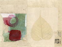 "Abstract collage with asian elements. Patchwork mixed medium collages with asian and abstract elements. Doko means ""where"" in Japanese."