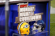The logo for ESPN Monday Night Countdown, the network's pregame show, sports the competing team helmets prior to the Chicago Bears NFL regular season week 3 football game against the Green Bay Packers on Monday, September 27, 2010 in Chicago, Illinois. The Bears won the game 20-17. ©Paul Anthony Spinelli
