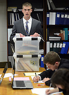 WARMINSTER, PA - MAY 1: Michael Pronin, a member of the William Tennent High School debate team practices with teammates May 1, 2014 in Warminster, Pennsylvania. (Photo by William Thomas Cain/Cain Images)