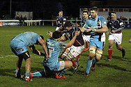 James Phillips is tackled during the Green King IPA Championship match between London Scottish &amp; Worcester at Richmond, Greater London on 20th December 2014<br /> <br /> Photo: Ken Sparks | UK Sports Pics Ltd<br /> London Scottish v Worcester, Green King IPA Championship, 20th December 2014<br /> <br /> &copy; UK Sports Pics Ltd. FA Accredited. Football League Licence No:  FL14/15/P5700.Football Conference Licence No: PCONF 051/14 Tel +44(0)7968 045353. email ken@uksportspics.co.uk, 7 Leslie Park Road, East Croydon, Surrey CR0 6TN. Credit UK Sports Pics Ltd