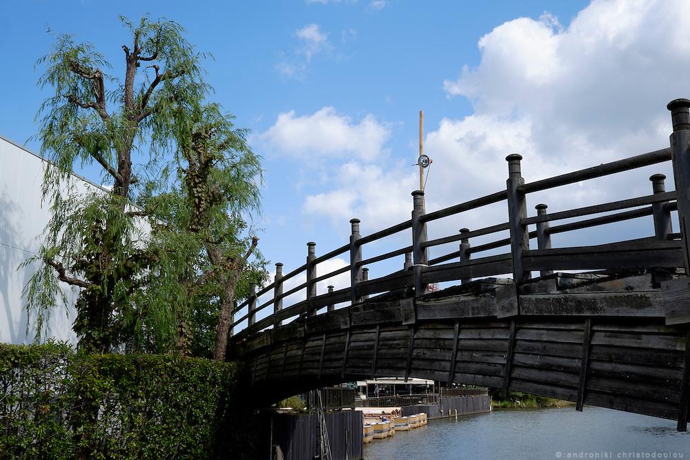 Old wooden bridge in Matsue city.