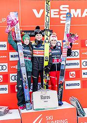14.03.2019, Granasen, Trondheim, NOR, FIS Weltcup Skisprung, Raw Air, Trondheim, Einzelbewerb, Damen, Siegerehrung, im Bild Tagespodium, 2. Platz Juliane Seyfarth (GER), Siegerin Maren Lundby (NOR), 3. Platz Eva Pinkelnig (AUT) // day podium 2nd placed Juliane Seyfarth (GER) Winner Maren Lundby of Norway 3rd placed Eva Pinkelnig of Austria during the winner cermony for the ladie's individual competition of the 3rd Stage of the Raw Air Series of FIS Ski Jumping World Cup at the Granasen in Trondheim, Norway on 2019/03/14. EXPA Pictures © 2019, PhotoCredit: EXPA/ JFK