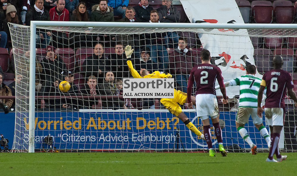 #1 Neil Alexander (Heart of Midlothian) has no chance with #18 Tom Rogic's (Celtic) looping shot that put the visitors 1-2 up ¥ Heart of Midlothian v Celtic ¥ Ladbrokes Premiership ¥ 27 December 2015 ¥ © Russel Hutcheson | SportPix.org.uk