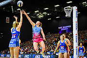 Mystic's Jamie Hume shoots & Steel's Abby Erwood defends. Steel Vs Mystics, ANZ Premiership, ILT Stadium, Invercargill, New Zealand.  Super Sunday, 5 May 2019.  © Copyright Photo:  Clare Toia-Bailey / www.photosport.nz