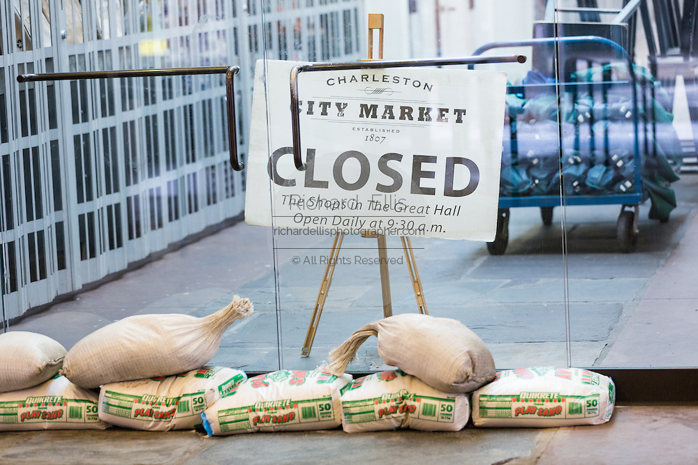 The historic Charleston City Market closed and sandbagged as Hurricane Joaquin brings heavy rain, flooding and strong winds as it passes offshore October 4, 2015 in Charleston, South Carolina.