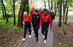 CARDIFF, WALES - Sunday, October 13, 2019: Wales' (L-R) Jonathan Williams, sports scientist Ronan Kavanagh and Rabbi Matondo during a pre-match team walk at the Vale Resort ahead of the UEFA Euro 2020 Qualifying Group E match between Wales and Croatia. (Pic by David Rawcliffe/Propaganda)
