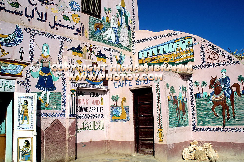 Painted house with local colors, murals and art, Luxor, Egypt