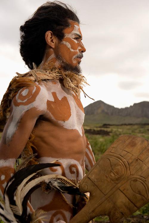 Rapa Nui man in native dress  Easter Island