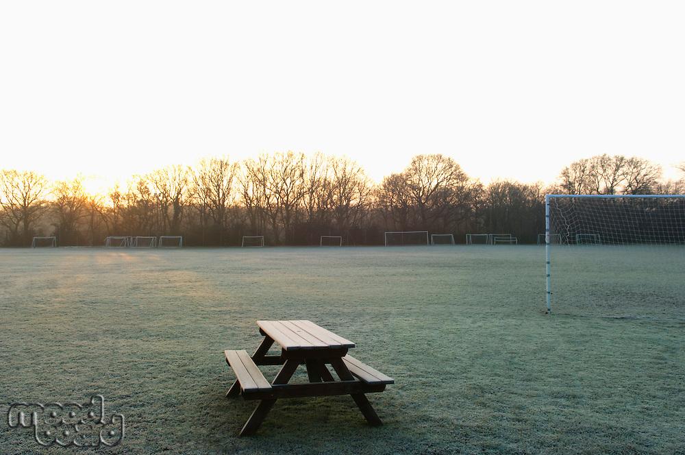 Empty soccer field sunset
