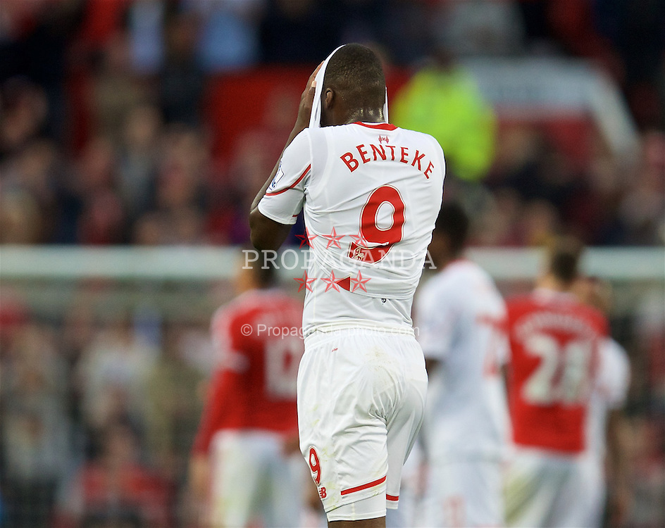 MANCHESTER, ENGLAND - Saturday, September 12, 2015: Liverpool's Christian Benteke looks dejected after the 3-1 defeat to Manchester United during the Premier League match at Old Trafford. (Pic by David Rawcliffe/Propaganda)