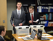 WARMINSTER, PA - MAY 1: Michael Pronin (L), and Cameron Zurmuhl (R), members of the William Tennent High School debate team practice with teammates May 1, 2014 in Warminster, Pennsylvania. (Photo by William Thomas Cain/Cain Images)