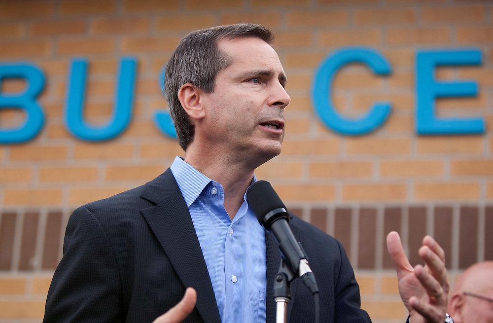 Ontario Premier Dalton McGuinty speaks at a press conference in Goderich Ontario, Monday, August 22, 2011 announcing aid for the community which was hit by a Tornado Sunday afternoon.<br /> THE CANADIAN PRESS/ Geoff Robins