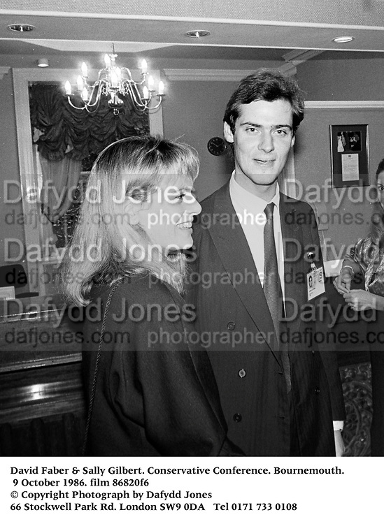 David Faber &amp; Sally Gilbert. Conservative Conference. Bournemouth. 9 October 1986. film 86820f6<br />