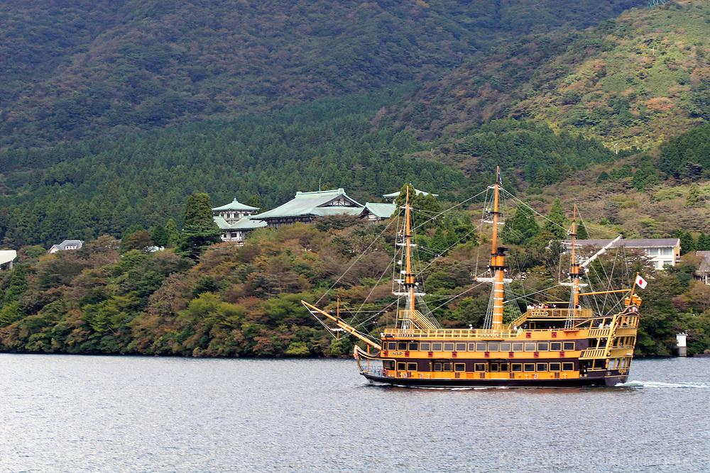 Asia, Japan, Hakone. A touristic sightseeing schooner on Lake Ashi for views of Mt. Fuji.