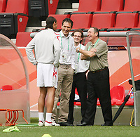 Photo: Chris Ratcliffe.<br />England Training Session. FIFA World Cup 2006. 19/06/2006.<br />Rio Ferdinand is joined by ex Liverpool manager Gerrard Houllier in training.