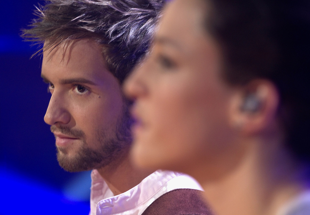 "Spanish idol Pablo Alboran and Portuguese fado singer Carminho, during the recording of Alboran's latest album ""En acústico"" (unplugged), at Ciudad de la Imagen, Madrid on July 6 and 7, 2011."