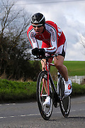 United Kingdom, Finchingfield, Mar 27, 2010:  Rob Young, In-Gear Quickvit Trainsharp, approaches the 4 miles to go marker during the 2010 edition of the 'Jim Perrin' Memorial Hardriders 25.5 mile Sporting TT promoted by Chelmer Cycling Club. Copyright 2010 Peter Horrell.