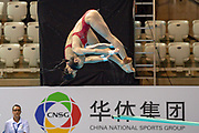 Yani Chang of China and Shan Lin of China in the Women's Syncronised 3m dive during the FINA/CNSG Diving World Series 2019 at London Aquatics Centre, London, United Kingdom on 17 May 2019.