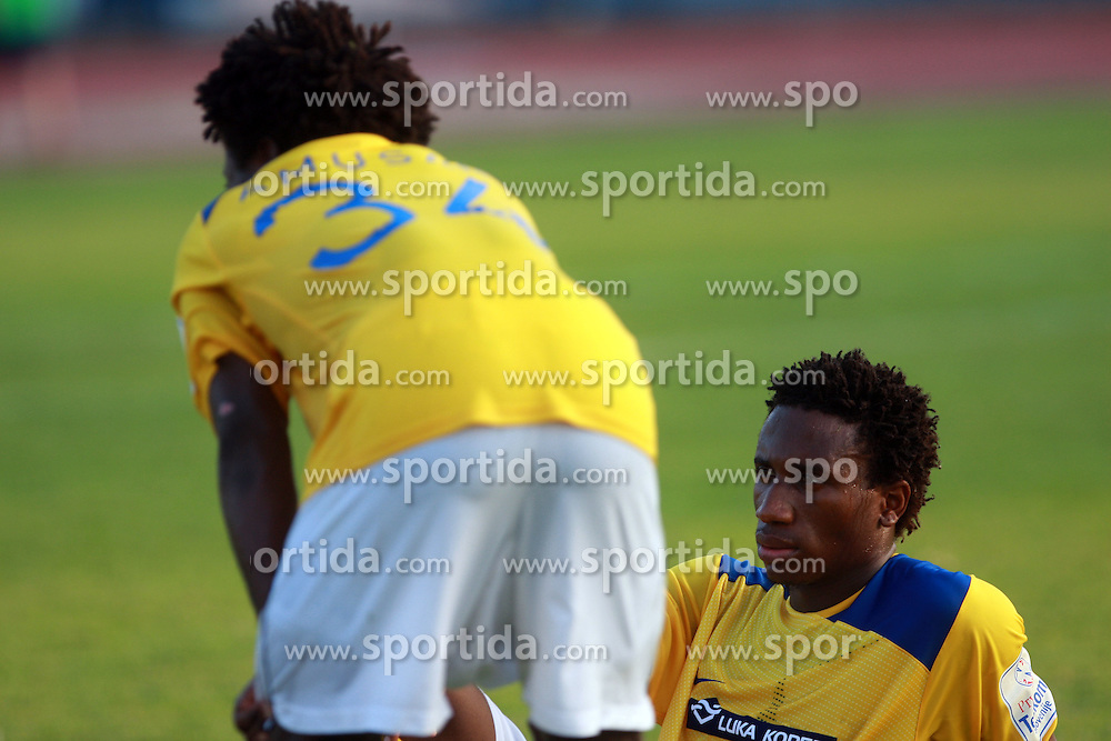 Adewale Amusan (34) of Koper and Tochukwu Nwankwo (35) of Koper after 7th Round of PrvaLiga Telekom Slovenije between FC Koper vs NK Domzale, on August, 2008, in SRC Bonifika, in Koper, Slovenia. (Photo by Vid Ponikvar / Sportal Images)
