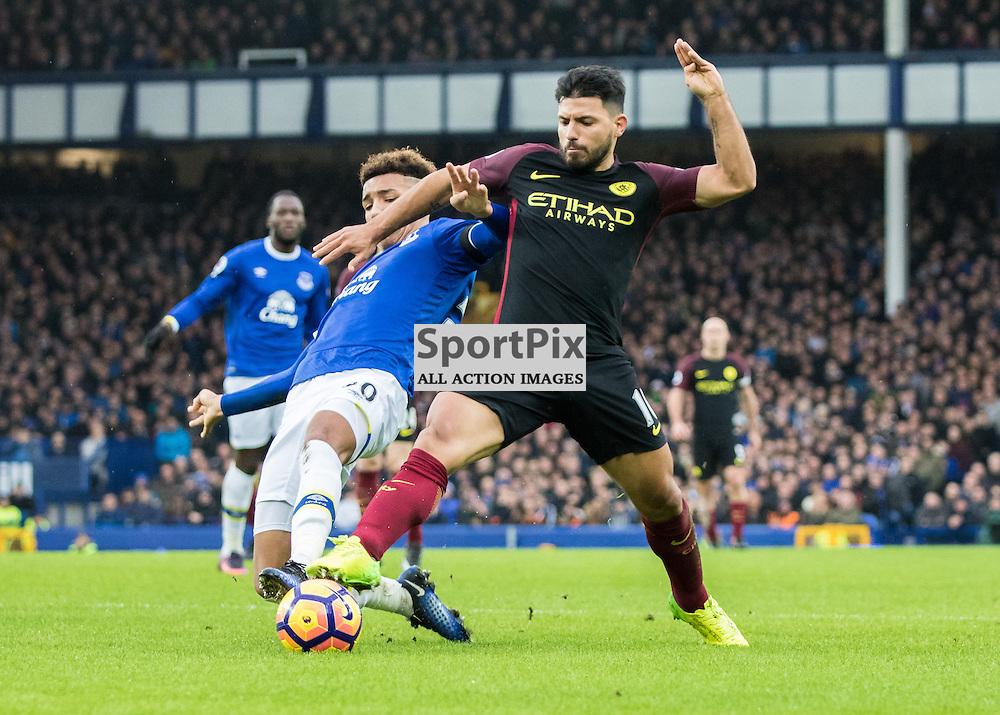 Sergio Aguero of Manchester City and Bryan Oviedo of Everton. Everton v Manchester City, Barclays English Premier League, 15th January 2017. (c) Paul Cram | SportPix