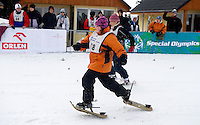 Athetes with intellectual disabilities while sport competition during VIII Polish Winter Games Special Olympics at Wisla on February 25, 2012...Poland, Wisla, February 25, 2012..Picture also available in RAW (NEF) or TIFF format on special request...For editorial use only. Any commercial or promotional use requires permission...Photo by © Adam Nurkiewicz / Mediasport