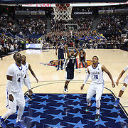 Ryan Boatright, UConn, holds his nerve as he shoots from the free throw line to win the game during the UConn Huskies Vs Tulsa Semi Final game at the American Athletic Conference Men's College Basketball Championships 2015 at the XL Center, Hartford, Connecticut, USA. 14th March 2015. Photo Tim Clayton