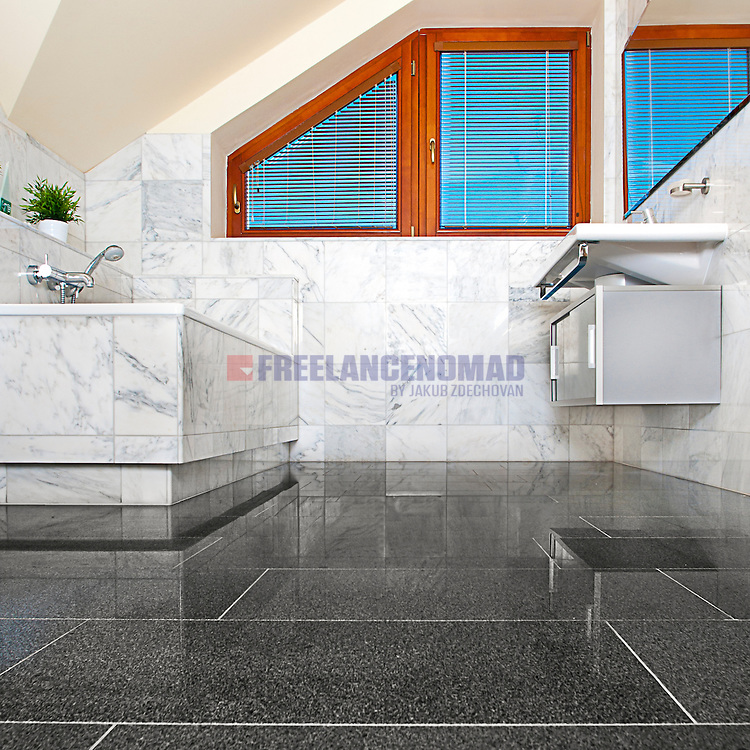 G654 Polished Padang Dark Grained Granite flooring tiles and M0101 White marble wall tiles natural stone bathroom interior project realization