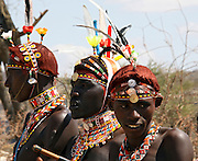 Kenya, Masai Mara, Masai (Also Maasai) Tribesmen an ethnic group of semi-nomadic people. Warriors with traditional headdress and ochre