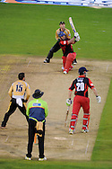 Glamorgan batsman Jim Allenby hits a 'six' . Friends Life T20 match, Glamorgan Dragons v Warwickshire Bears at the Swalec stadium in Cardiff, South Wales on Sunday 17th June 2012. pic by Andrew Orchard, Andrew Orchard sports photography,
