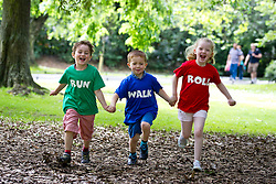No fee for Repro: 23/07/2012.Irish Cancer Society launches Run, Walk and Roll, a new community fundraising initiative in aid of cancer research.Darragh O'Kane, (age 5) from Stillorgan, Jack Kirwan (age 5) from Stepaside and Mena Noone, (age 6) from Foxrock pictured at the launch of the Irish Cancer Society's new Run, Walk and Roll fundraising campaign. They are inviting communities across Ireland to run, walk and roll in just about anything with wheels- scooters, skateboards, wheelchairs, prams, bikes?.as long as it doesn't have an engine! CallSave 1850 60 60 60 to find out how you can get involved. Picture Andres Poveda