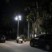 MIAMI BEACH, FLORIDA, NOVEMBER 4, 2016<br /> Industrial lighting was put in all the side streets leading to Ocean Drive in Miami Beach. Recent incidents of violence and crime are pushing the city of Miami Beach to try to alter the appeal of the area.<br /> (Photo by Angel Valentin/Freelance)