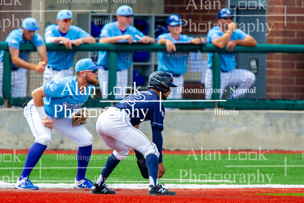 25 May 2019:  Luke Bandy takes a lead from first base covered by Dane Tofteland.  Missouri Valley Conference Baseball Tournament - Dallas Baptist Patriots v Indiana State Sycamores at Duffy Bass Field in Normal IL<br /> <br /> #MVCSPORTS