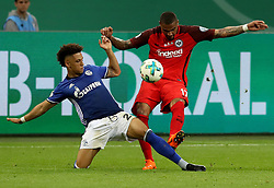 GELSENKIRCHEN, April 19, 2018  Kevin-Prince Boateng (R) of Eintracht Frankfurt and Thilo Kehrer of Schalke 04 vie for the ball during the German DFB Pokal match between Schalke 04 and Eintracht Frankfurt at the Veltins Arena in Gelsenkirchen Germany, on April 18, 2018. (Credit Image: © Joachim Bywaletz/Xinhua via ZUMA Wire)