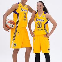 Los Angeles Sparks forward/center Candace Parker (3), Los Angeles Sparks guard Kristi Toliver (20)