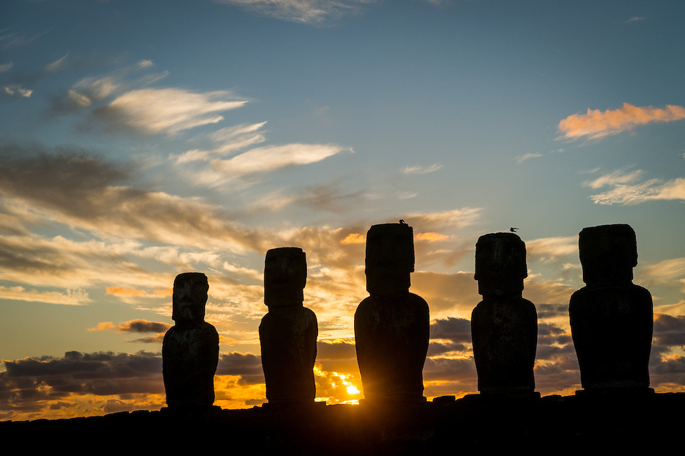 The Rapa Nui people carved and transported over 900 moai statues all over Easter Island.  The moai were created between the years 1250 and 1500 A.D.