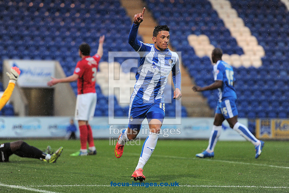 Macauley Bonne celebrates scoring his sides first goal to make the scoreline 1-0 during the Sky Bet League 1 match between Colchester United and Coventry City at the Weston Homes Community Stadium, Colchester<br /> Picture by Richard Blaxall/Focus Images Ltd +44 7853 364624<br /> 14/11/2015