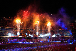 16.05.2010, Camp Nou Stadium, Barcelona, ESP, FC Barcelona Meisterfeier im Bild die Spieler des FC Barcelona feierten den Meistertitel, Feuerwerk über den Stadion, EXPA Pictures © 2010, PhotoCredit: EXPA/ Alterphotos/ ALFAQUI/ Gregorio / SPORTIDA PHOTO AGENCY