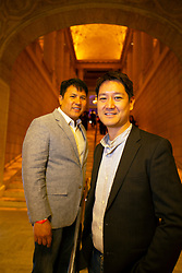 """Co-writers, directors and actors Christian Lee, left, and Jason Chan, of """"Jimami Tofu,"""" pose for a photo at the Gala for the CAAM Film Festival, at the Asian Art Museum, Thursday, May 10, 2018 in San Francisco, Calif. (D. Ross Cameron/SF Chronicle)"""
