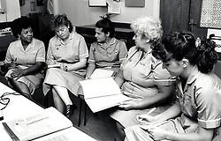 Nurses, Nottingham General Hospital, UK. August 1990. The hospital closed in 1992