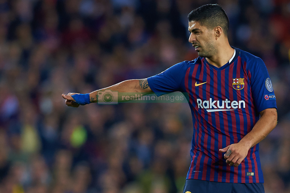 October 24, 2018 - Barcelona, Barcelona, Spain - Luis Suarez of FC Barcelona reacts during the UEFA Champions League group B match between FC Barcelona and FC Internazionale  at Camp Nou on October 24, 2018 in Barcelona, Spain  (Credit Image: © Sergio Lopez/NurPhoto via ZUMA Press)