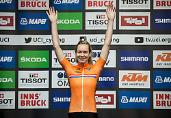 Podium / Anna Van The Breggen of the Netherlands Gold Medal / Celebration / during the Women's Elite Road Race a 156.2km race from Kufstein to Innsbruck 582m at the 91st UCI Road World Championships 2018 / RR / RWC / on September 29, 2018 in Innsbruck, Austria. Photo by Vid Ponikvar / Sportida